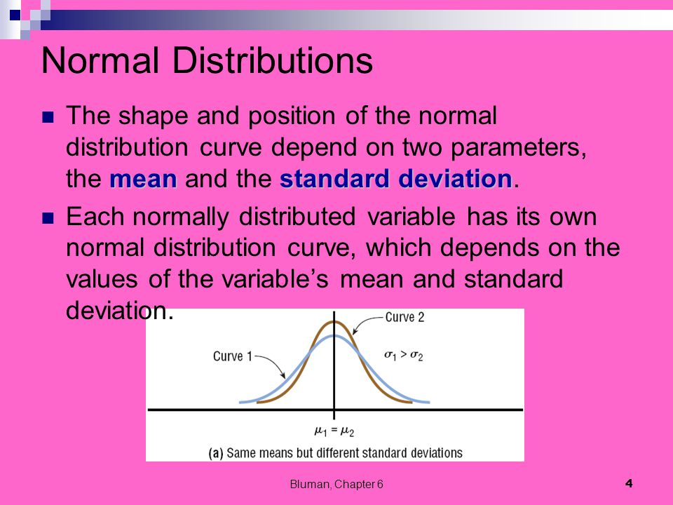 Normal Distributions The shape and position of the normal distribution curve depend on two parameters, the mean and the standard deviation.