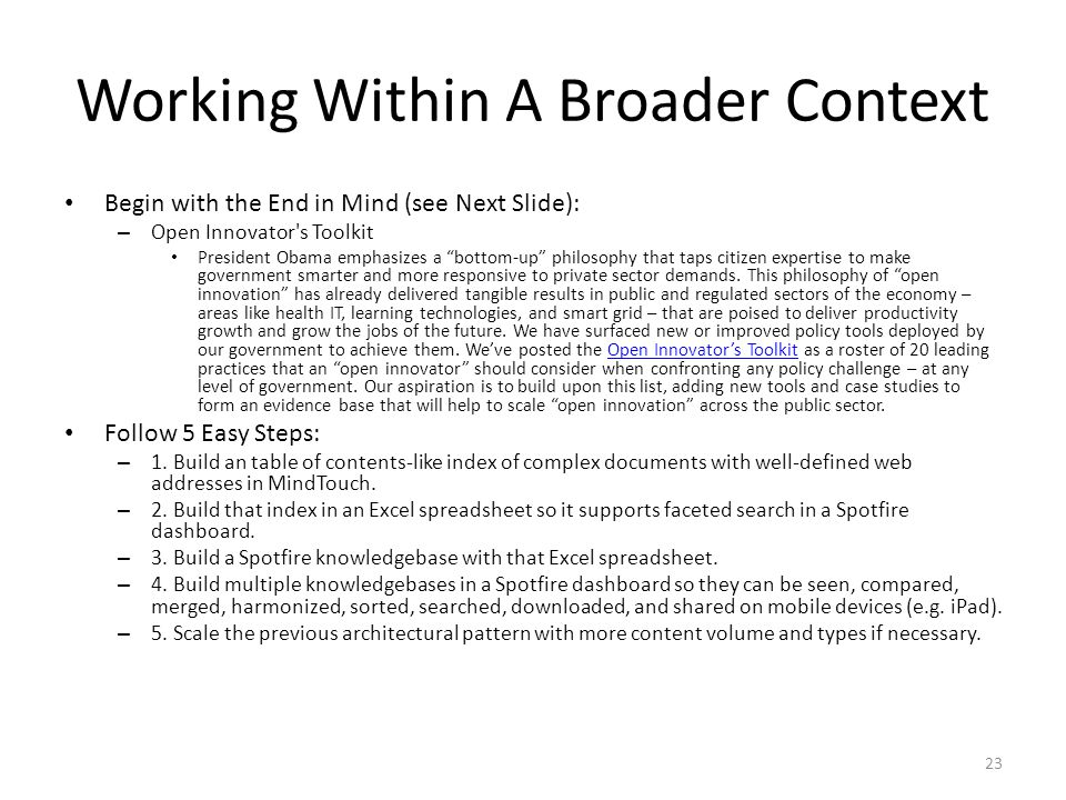 Working Within A Broader Context