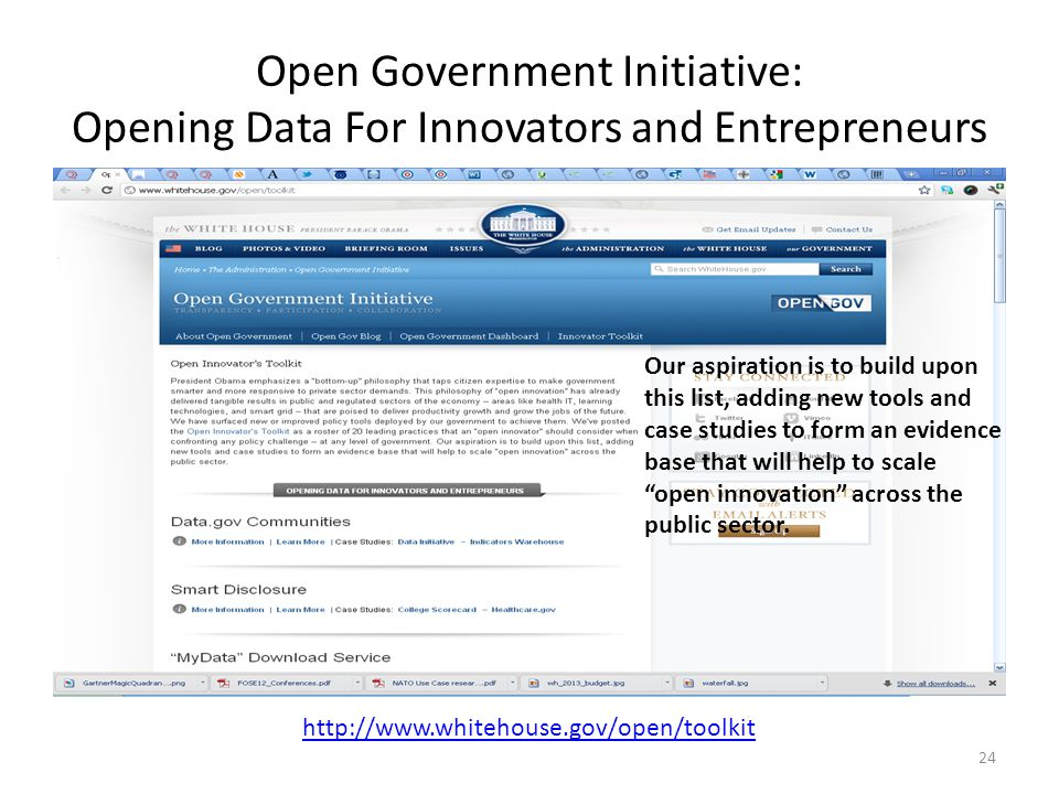 Open Government Initiative: Opening Data For Innovators and Entrepreneurs