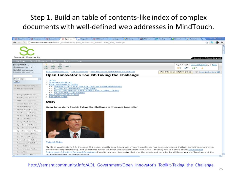 Step 1. Build an table of contents-like index of complex documents with well-defined web addresses in MindTouch.