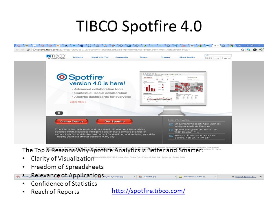 TIBCO Spotfire 4.0 The Top 5 Reasons Why Spotfire Analytics is Better and Smarter: Clarity of Visualization.