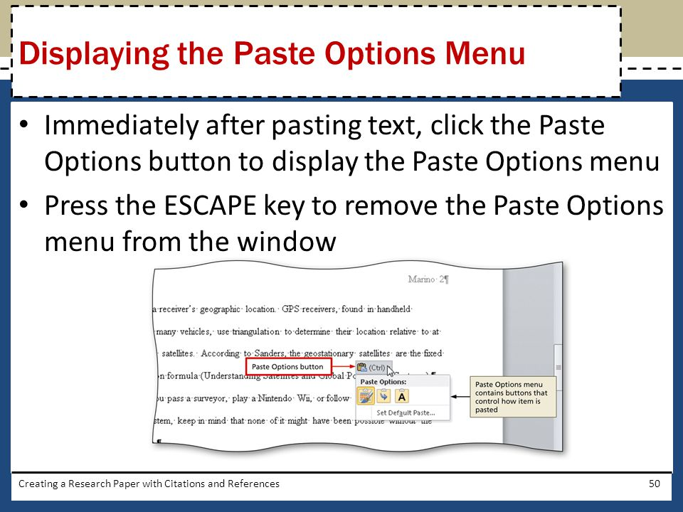 Displaying the Paste Options Menu