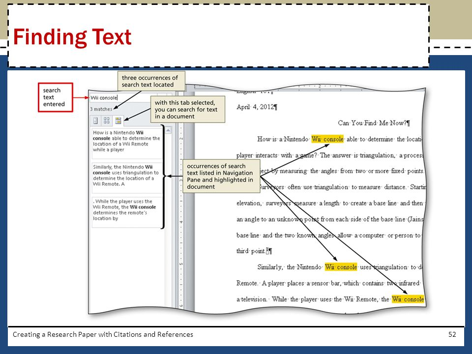 Finding Text Creating a Research Paper with Citations and References