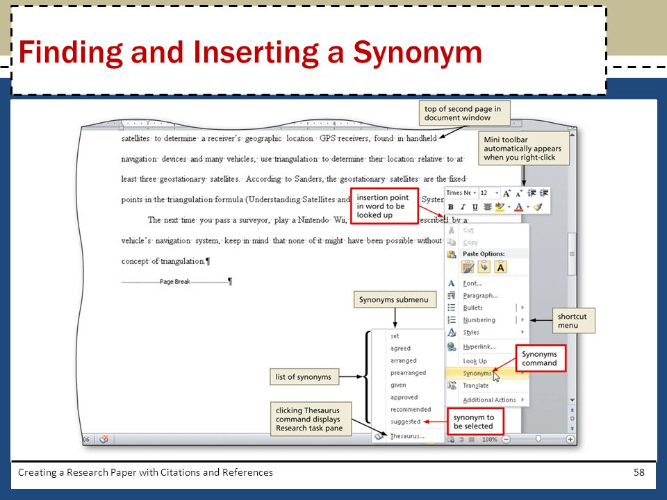 Finding and Inserting a Synonym