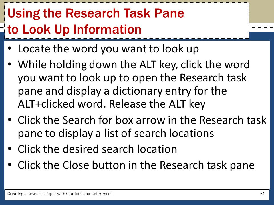 Using the Research Task Pane to Look Up Information