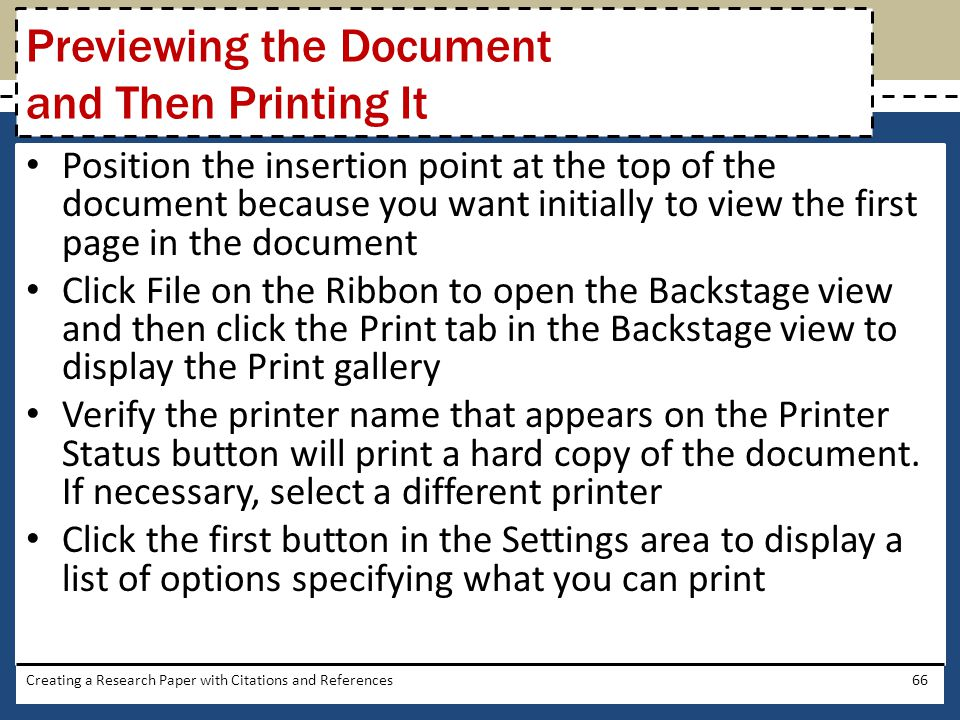 Previewing the Document and Then Printing It