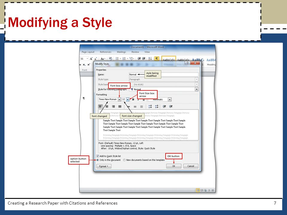 Modifying a Style Creating a Research Paper with Citations and References