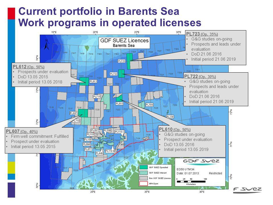 Current portfolio in Barents Sea Work programs in operated licenses