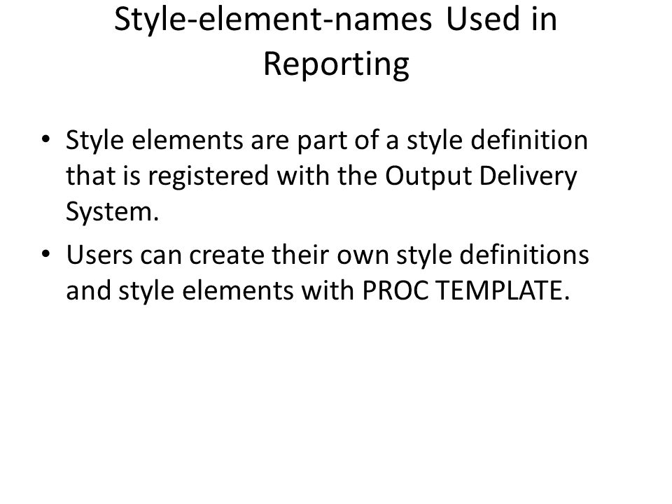 Style-element-names Used in Reporting