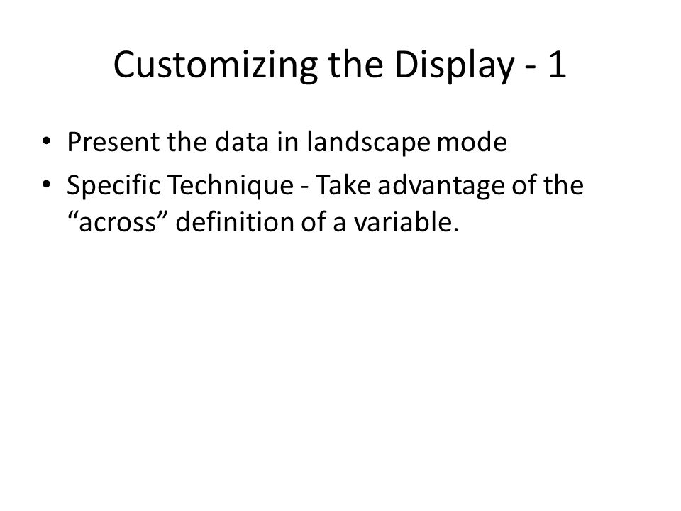 Customizing the Display - 1