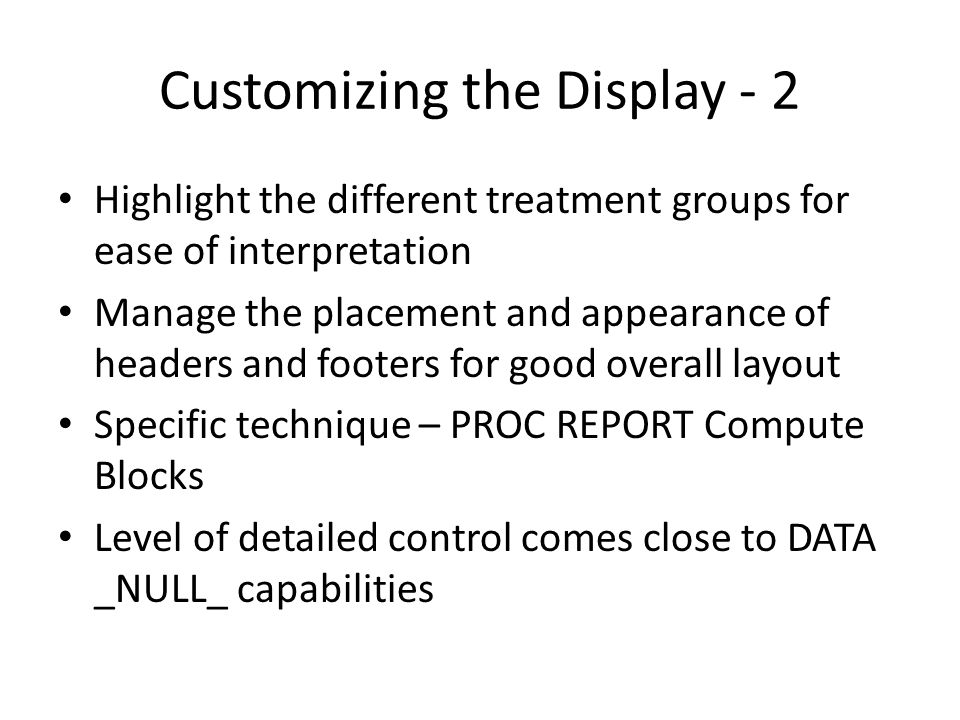Customizing the Display - 2