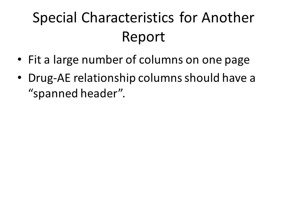 Special Characteristics for Another Report
