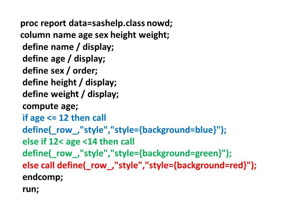 proc report data=sashelp.class nowd;