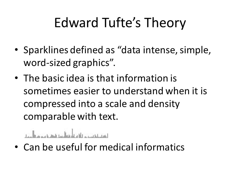 Edward Tufte's Theory Sparklines defined as data intense, simple, word-sized graphics .