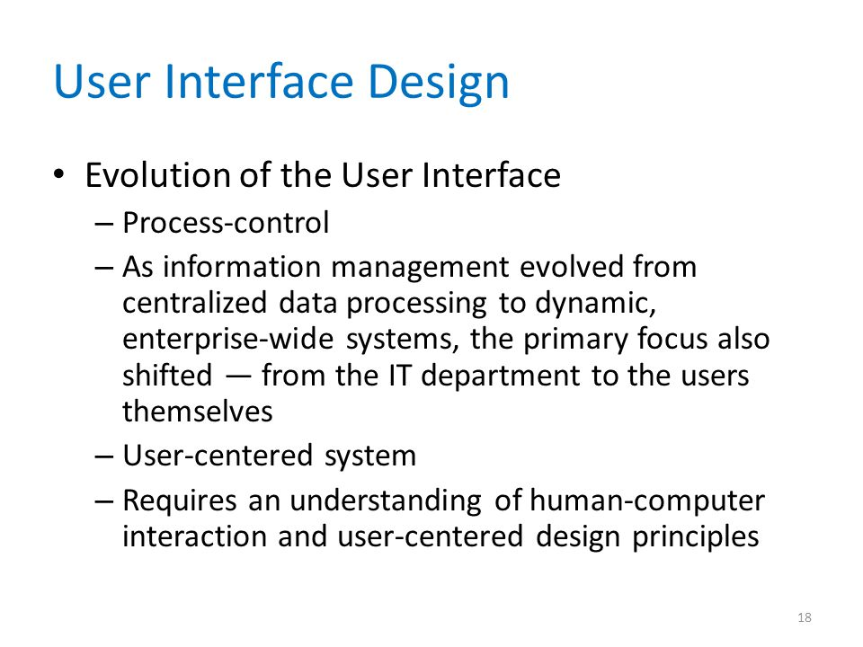 User Interface Design Evolution of the User Interface Process-control