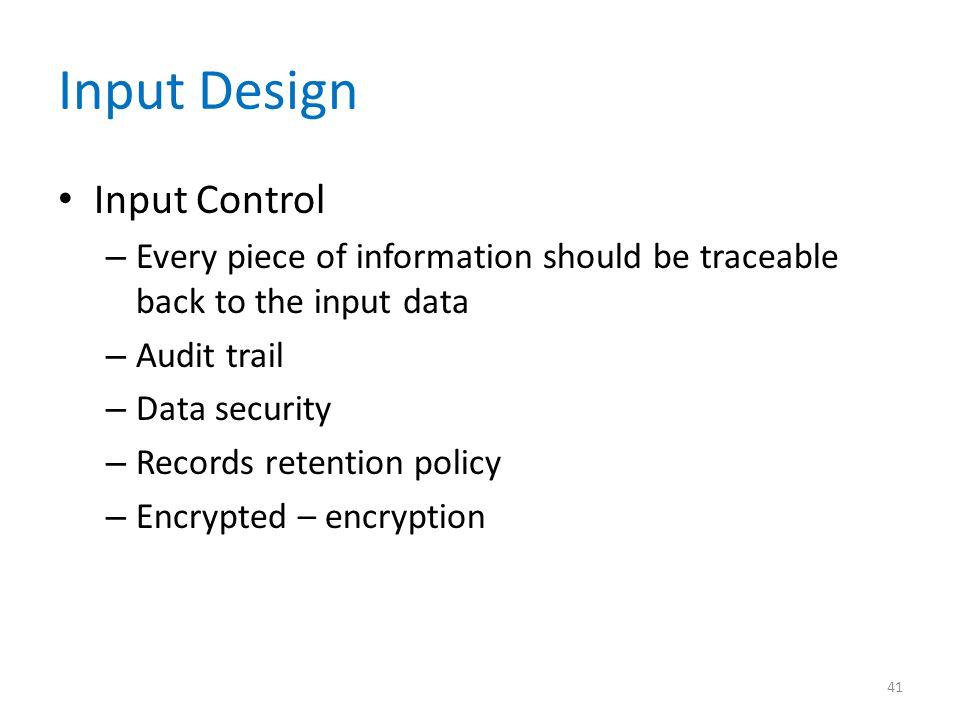 Input Design Input Control