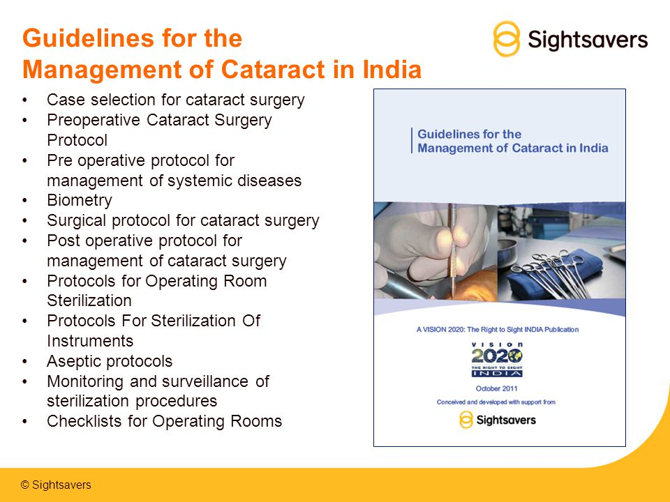 Guidelines for the Management of Cataract in India