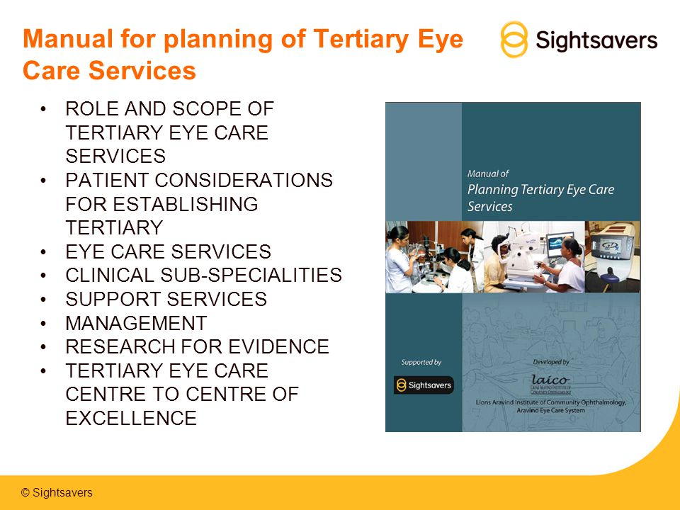 Manual for planning of Tertiary Eye Care Services