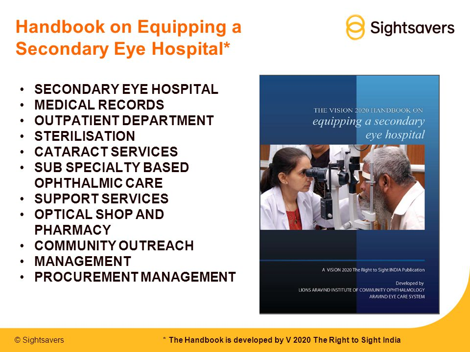 Handbook on Equipping a Secondary Eye Hospital*