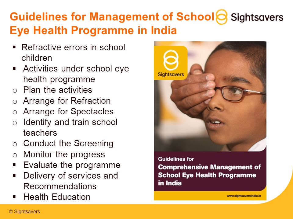 Guidelines for Management of School Eye Health Programme in India