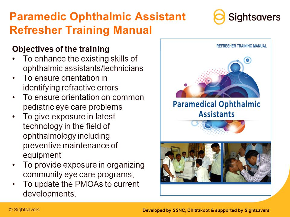 Paramedic Ophthalmic Assistant Refresher Training Manual