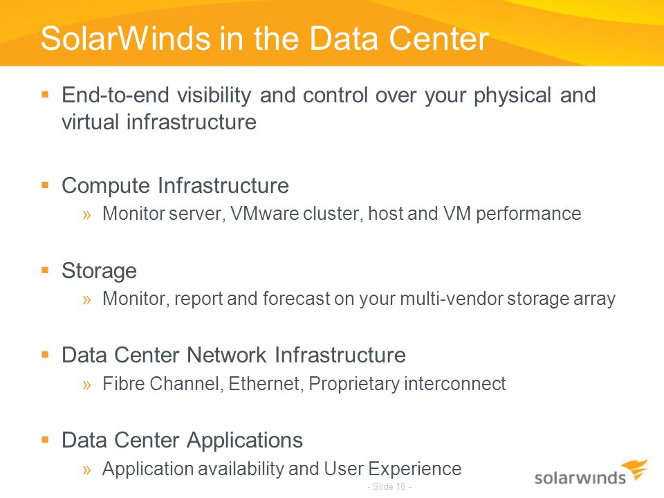 SolarWinds in the Data Center