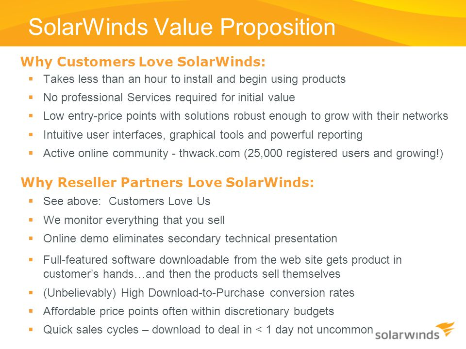 SolarWinds Value Proposition