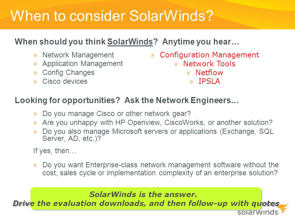 When to consider SolarWinds