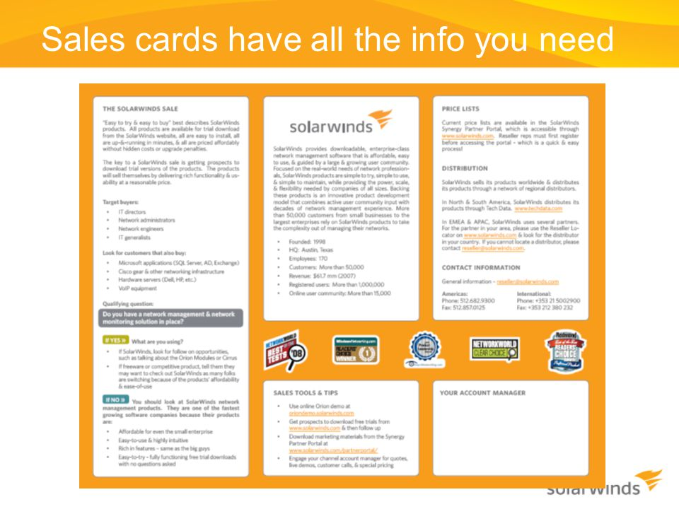Sales cards have all the info you need