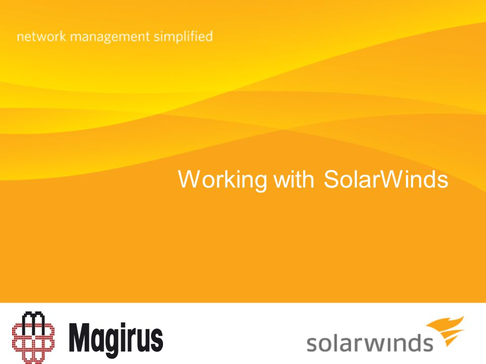 Working with SolarWinds