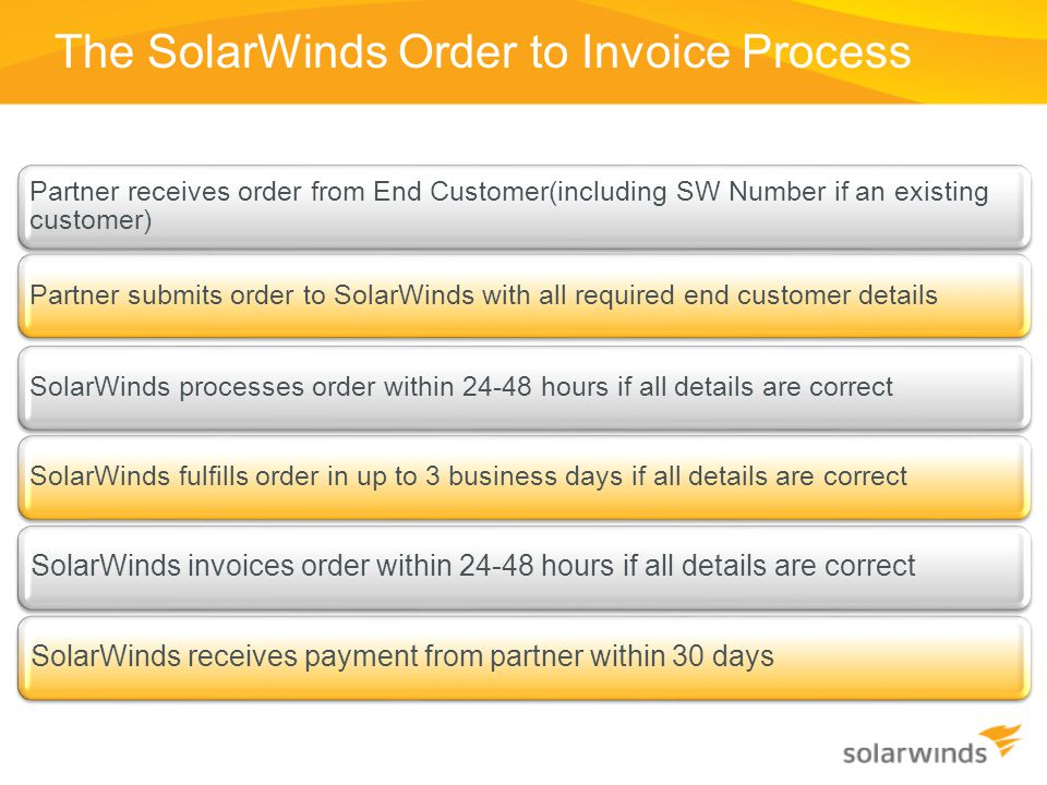 The SolarWinds Order to Invoice Process