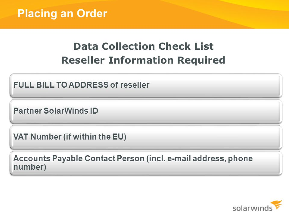 Data Collection Check List Reseller Information Required