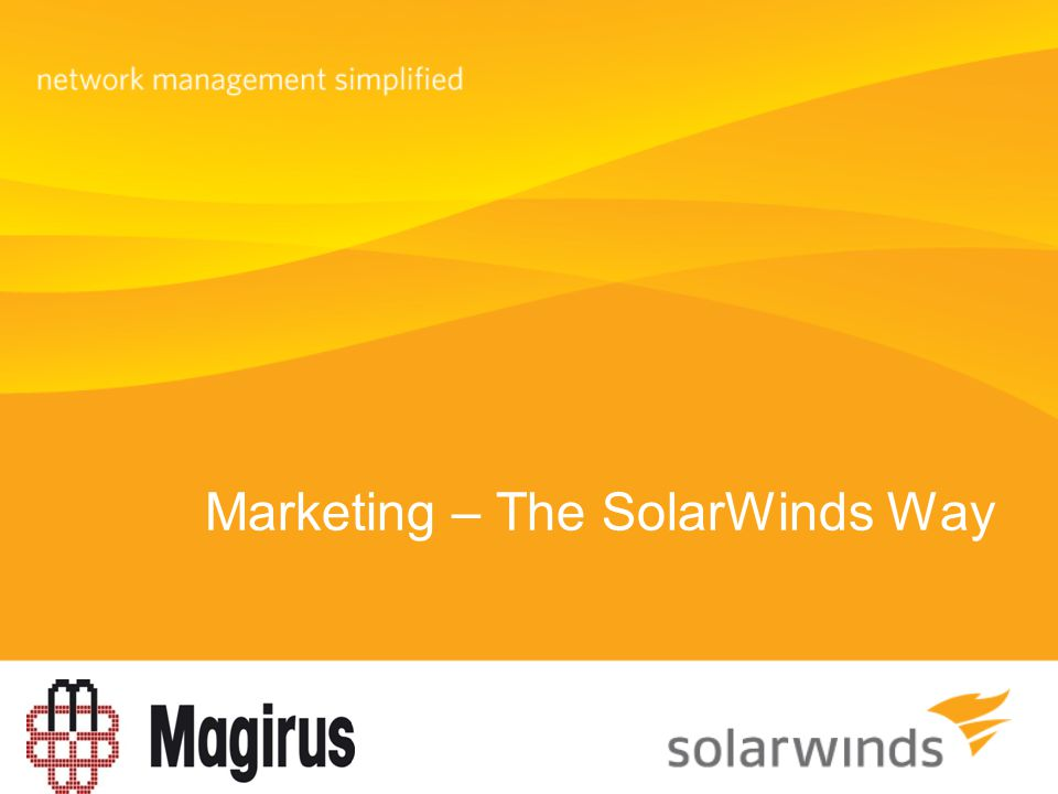 Marketing – The SolarWinds Way