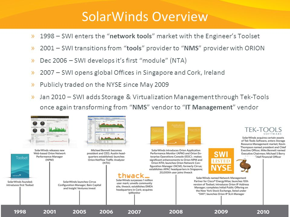 SolarWinds Overview 1998 – SWI enters the network tools market with the Engineer's Toolset.