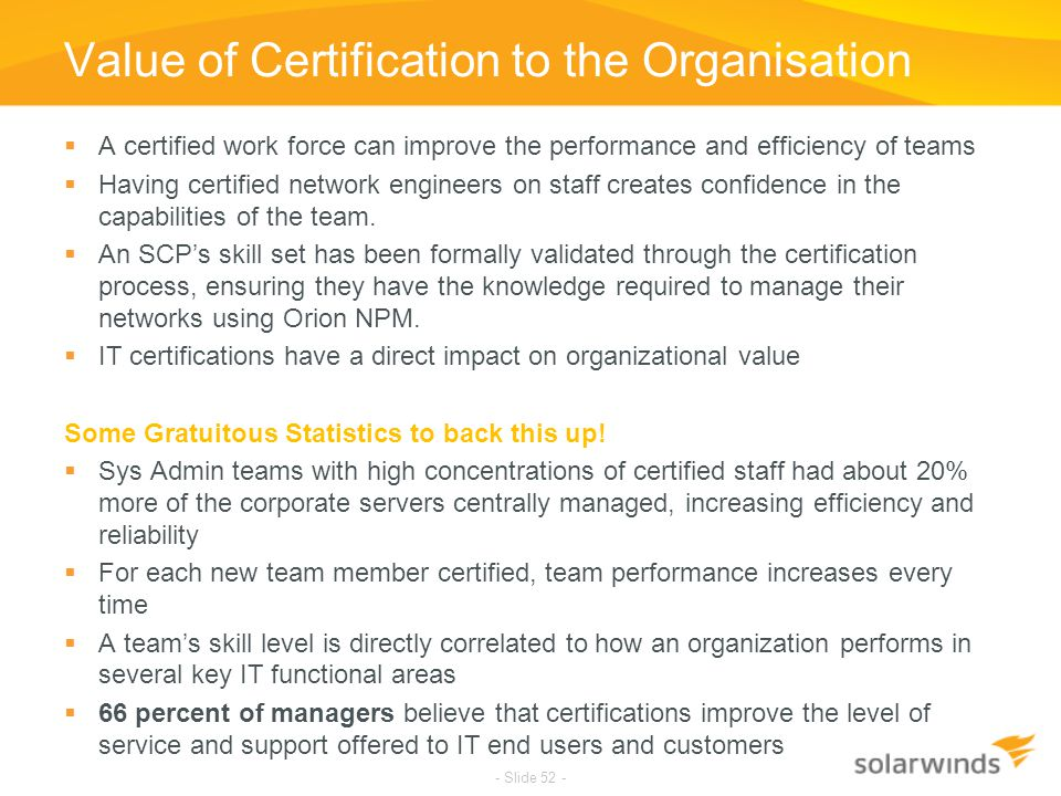 Value of Certification to the Organisation