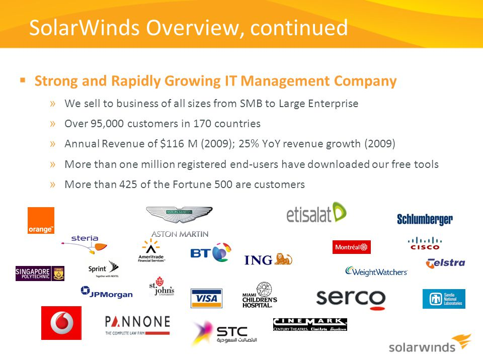 SolarWinds Overview, continued