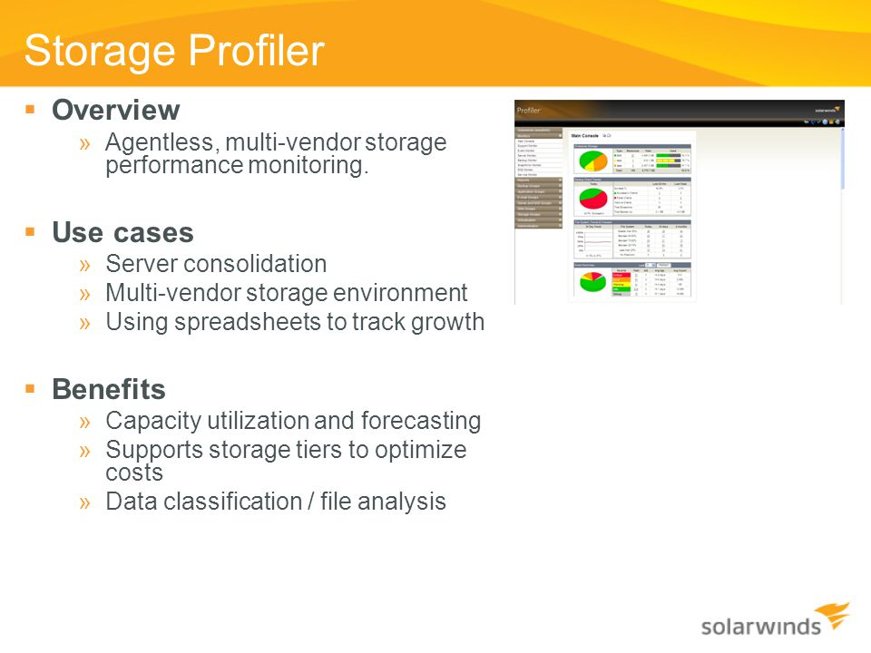 Storage Profiler Overview Use cases Benefits