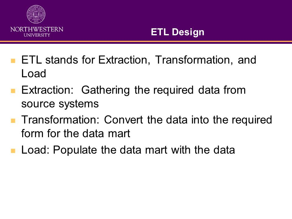 ETL stands for Extraction, Transformation, and Load