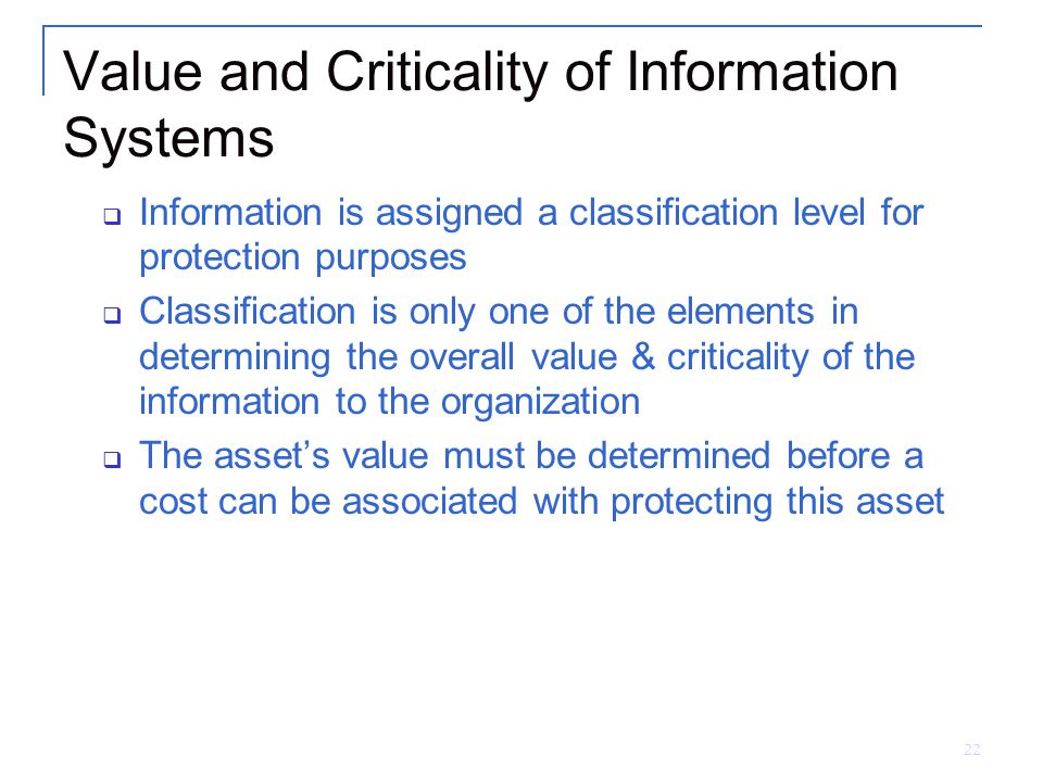 Value and Criticality of Information Systems