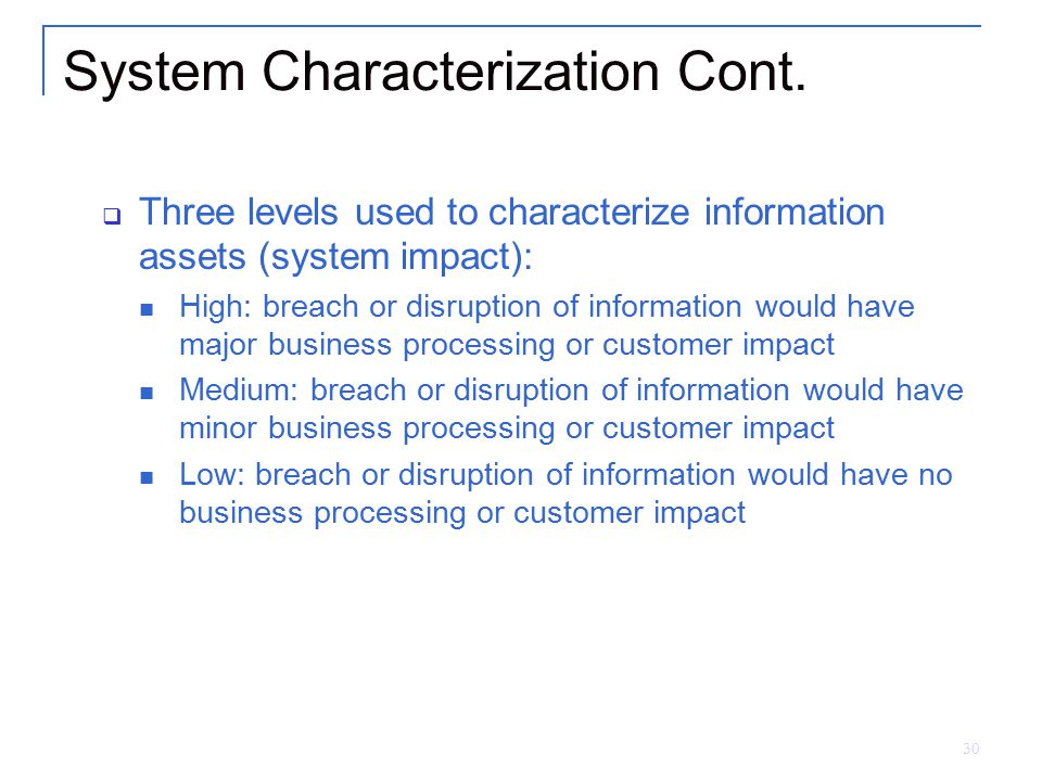 System Characterization Cont.
