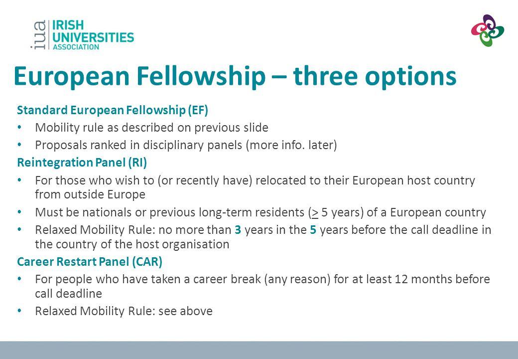 European Fellowship – three options