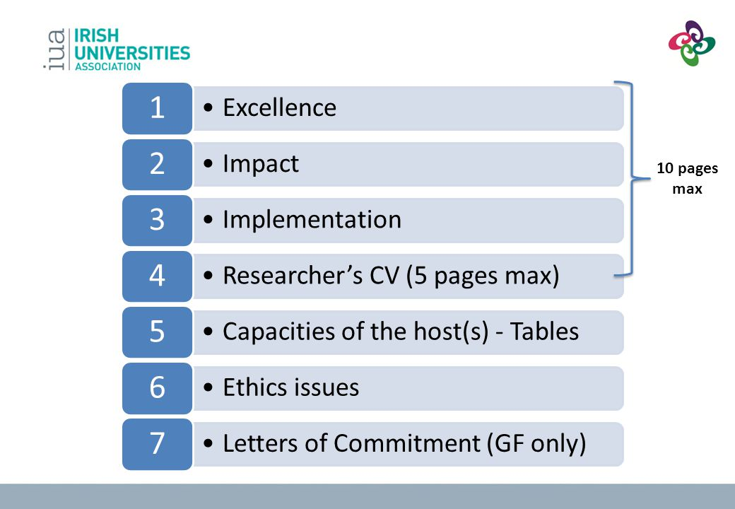 10 pages max 1 Excellence 2 Impact 3 Implementation 4