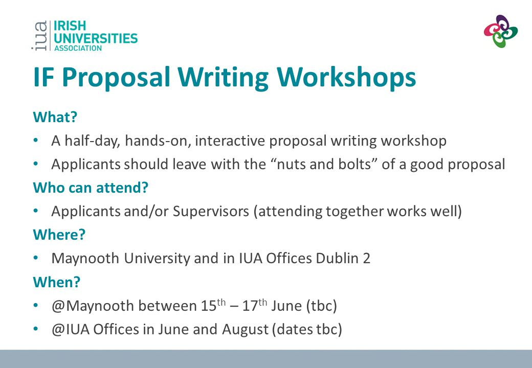 IF Proposal Writing Workshops