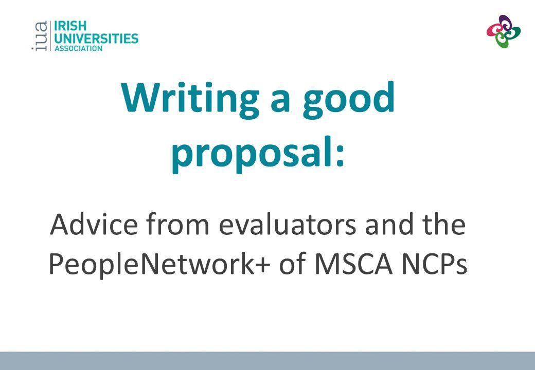 Writing a good proposal: