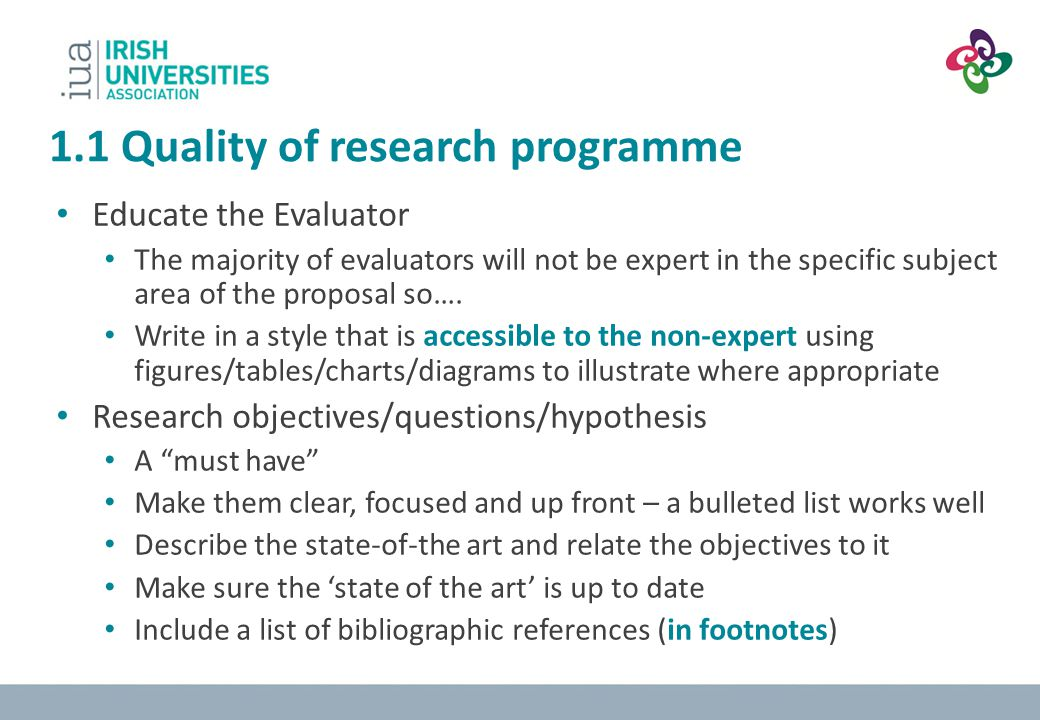 1.1 Quality of research programme