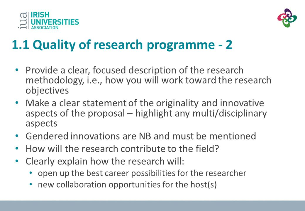 1.1 Quality of research programme - 2