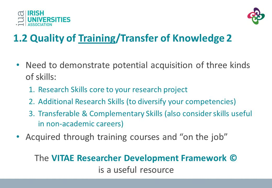 1.2 Quality of Training/Transfer of Knowledge 2