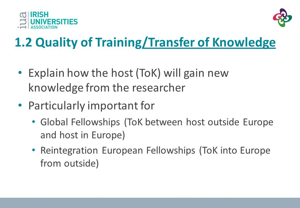 1.2 Quality of Training/Transfer of Knowledge