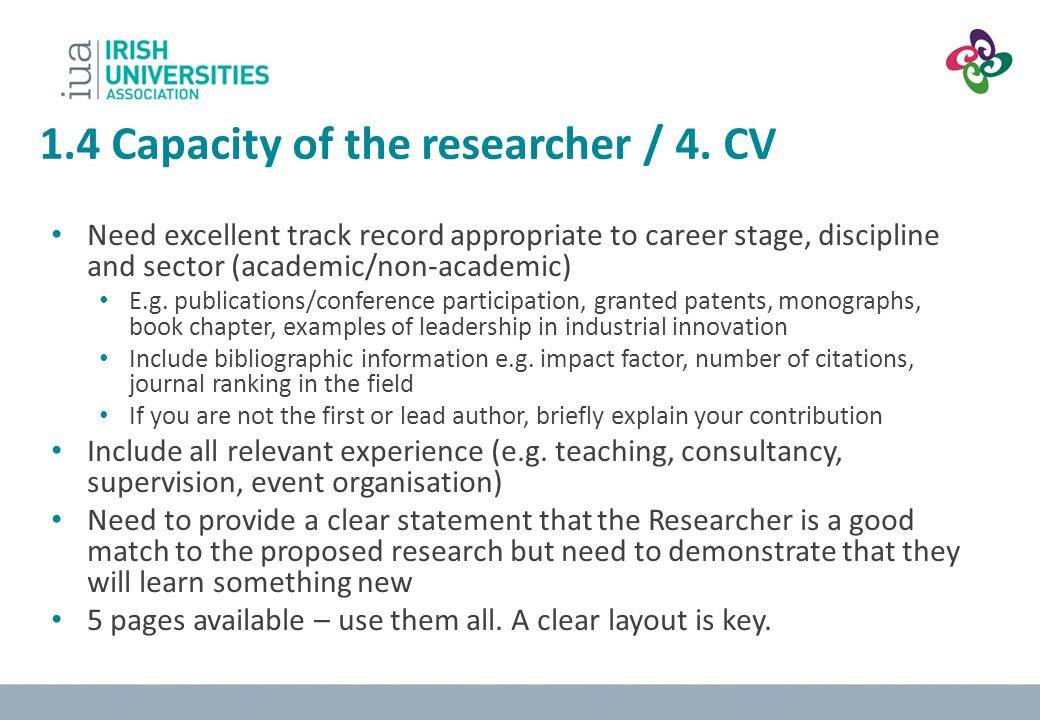 1.4 Capacity of the researcher / 4. CV