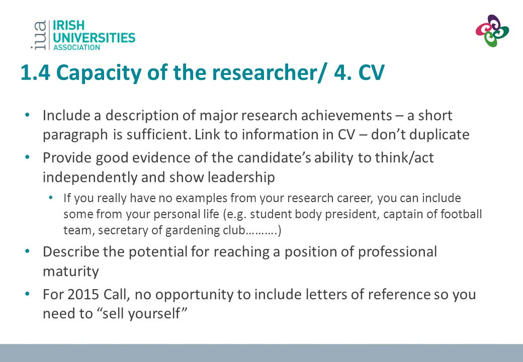 1.4 Capacity of the researcher/ 4. CV